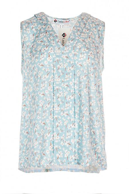 Блакитна блузка з планкою. Діловий жіночий одяг.