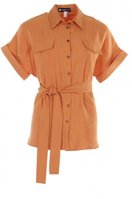 Блузка гірчична під пояс Діловий жіночий одяг фото