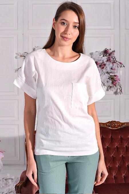 Блуза з білого льону. Діловий жіночий одяг фото