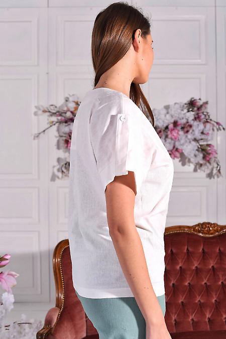 Льняная белая блуза с манжетами
