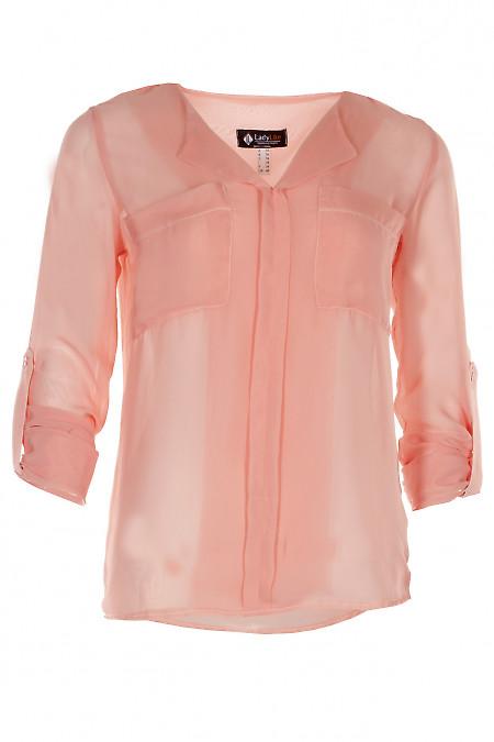 Блузка из шифона персикового цвета Деловая женская одежда фото
