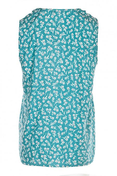 Купити м'ятну блузку в квіточку. Діловий жіночий одяг.