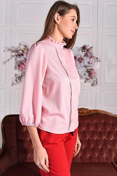 Рожева блуза із софту з рюшем