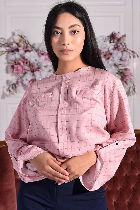 Блузка розовая в черную клетку. Деловая женская одежда