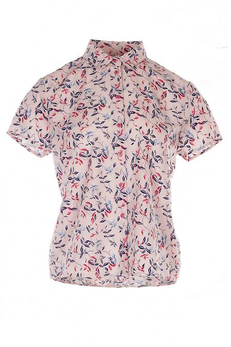 Блузка розовая в листочки Деловая Женская Одежда фото