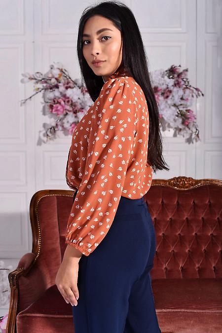 Блуза рыжая с рукавами на резинке