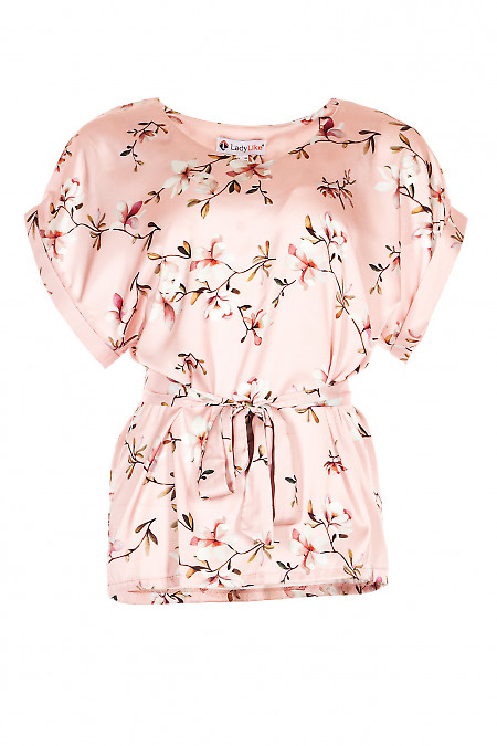 Блузка з поясом рожева в квіти. Діловий жіночий одяг.