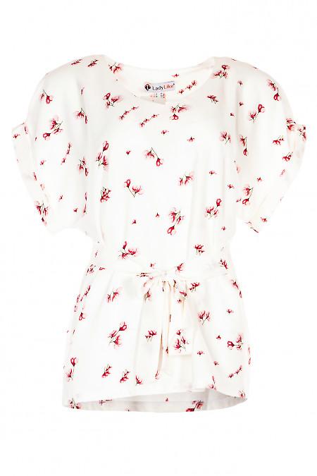 Блузка з поясом в малинову квітку. Діловий жіночий одяг