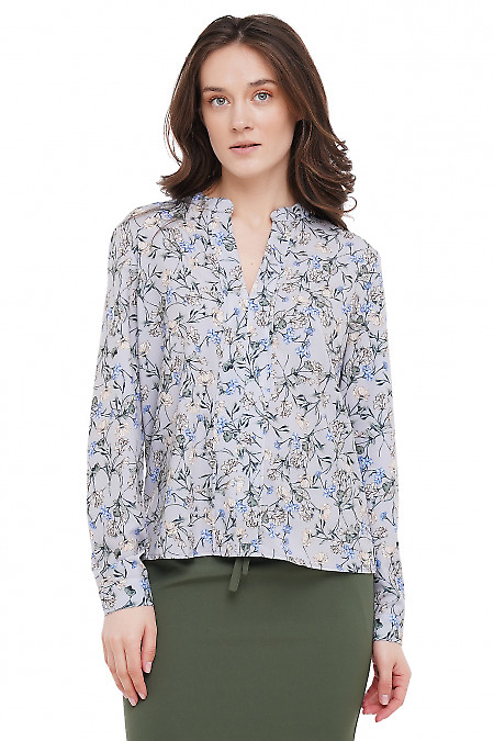 Блузка серая в цветы Деловая Женская Одежда фото