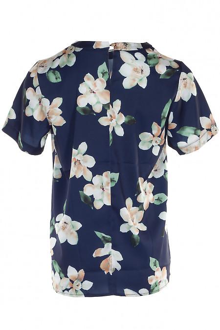 Купить шелковую синюю блузку в цветы. Деловая женская одежда фото