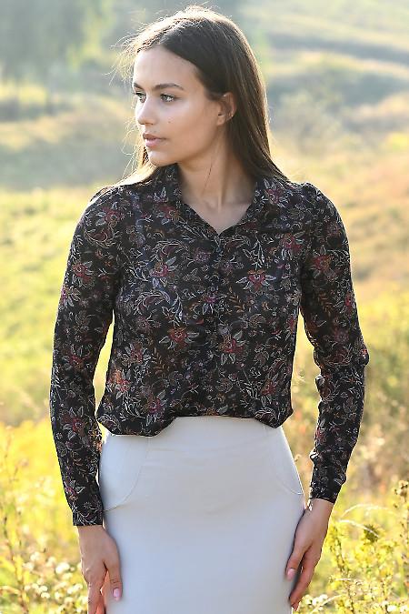 Блузка шифоновая черная в огурцы. Деловая женская одежда фото