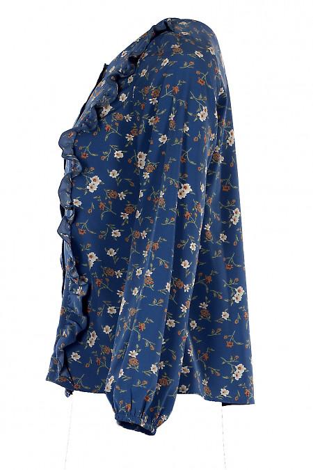 Синяя блуза в цветы