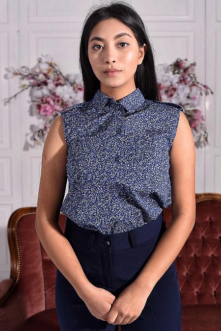 Блузка синяя в листики с погончиками. Деловая женская одежда