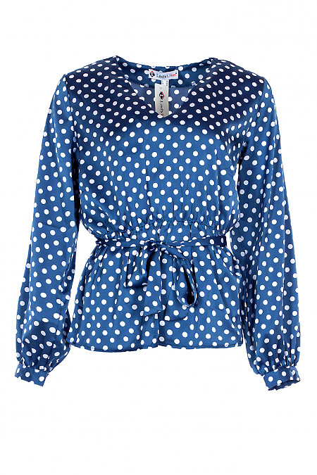 Блузка в горох шовкова з гумкою в поясі. Діловий жіночий одяг