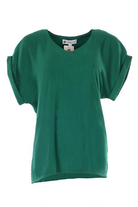Купити зелену блузку з поясом. Діловий жіночий одяг