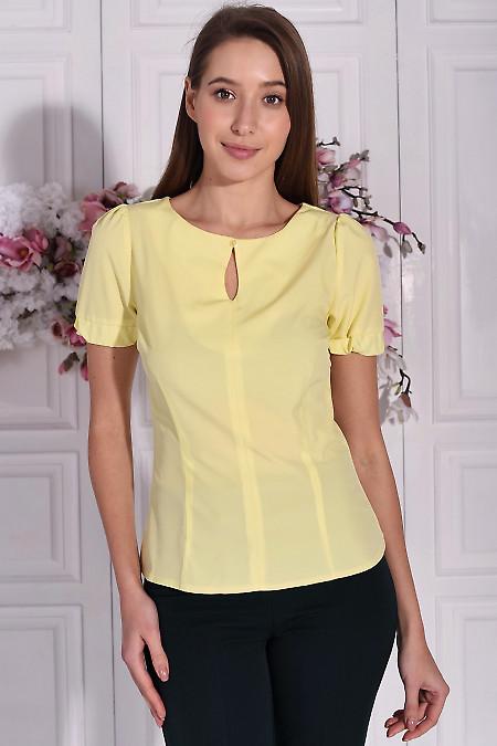 Блузка желтая с капелькой. Деловая женская одежда