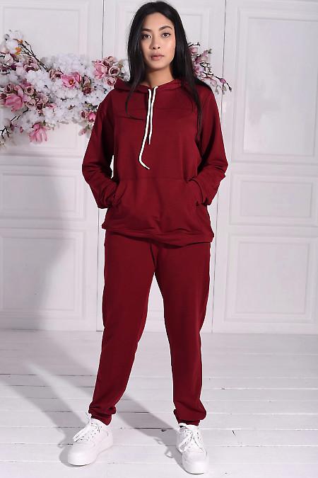Бордовый спортивный костюм с худи. Деловая женская одежда