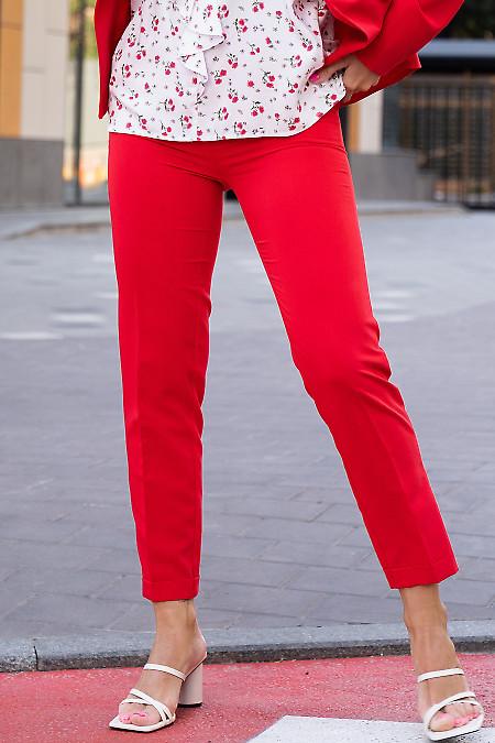 Купить зауженные красные брюки с манжетой. Деловая женская одежда фото