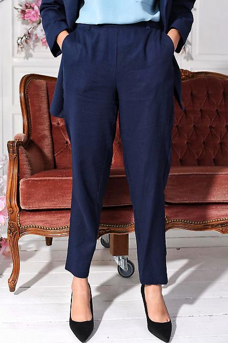 Брюки лляні сині на резинці. Діловий жіночий одяг