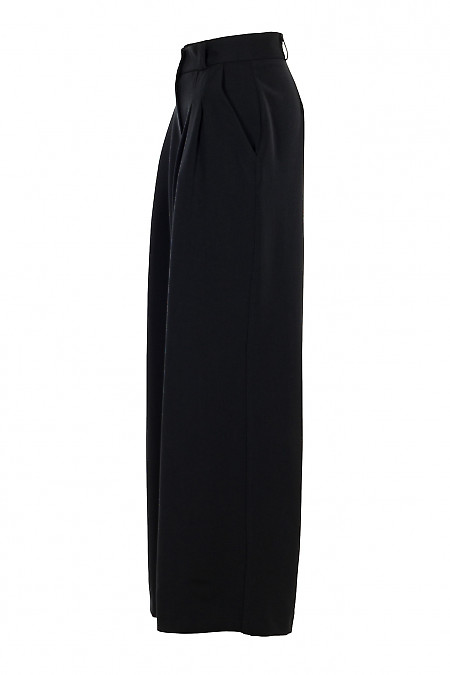 Купить брюки палаццо черные утеплённые. Деловая женская одежда фото