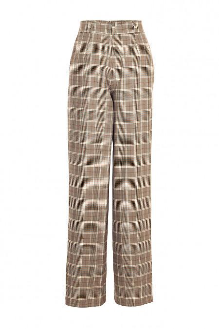 Купить брюки палаццо в коричневую клетку. Деловая женская одежда фото