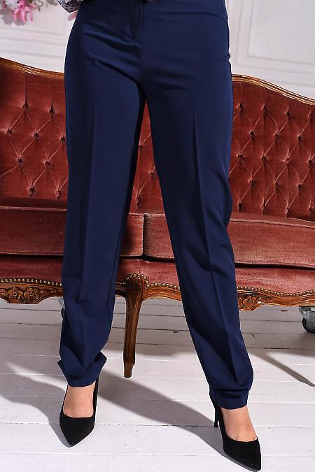Брюки синие женские без карманов. Деловая женская одежда