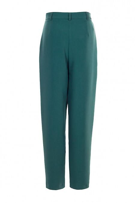 Брюки высокий женские зеленые зауженные. Деловая женская одежда фото