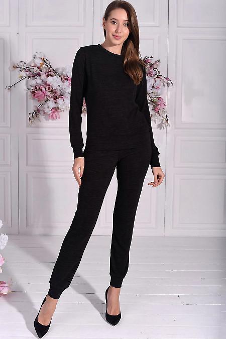 Черный трикотажный костюм для дома. Деловая женская одежда