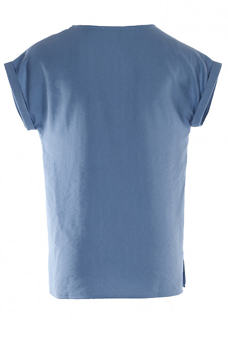 Голубая футболка из льна