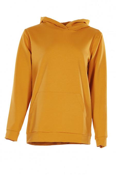 Худі гірчичного кольору з капюшоном і кишенею. Жіночий одяг.