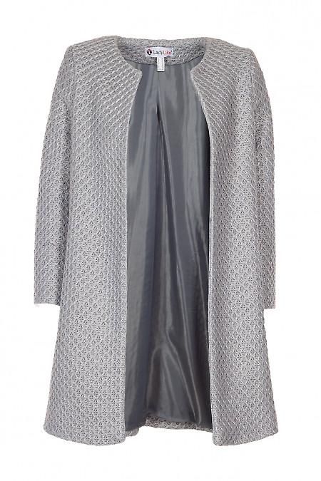 Кардиган серый вязаный. Деловая женская одежда фото
