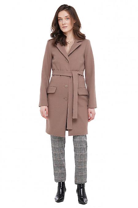 Пальто бежевое Деловая Женская Одежда фото