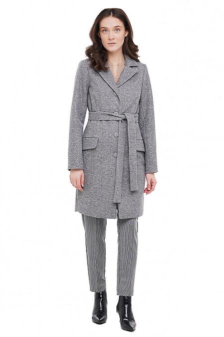 Пальто серое Деловая Женская Одежда фото