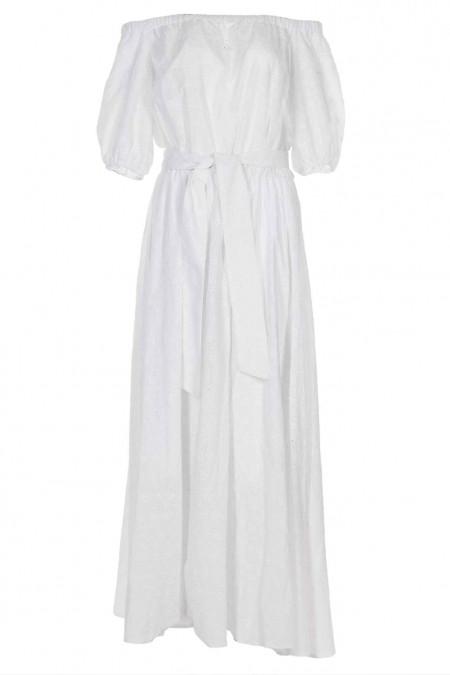 Белое платье с открытыми плечами из прошвы. Женская одежда фото