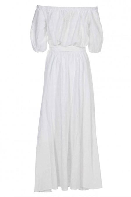 Купить белое платье с открытыми плечами из прошвы. Женская одежда фото