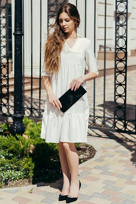 Купить молочное платье с воротником. Женская одежда.