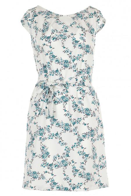 Платье белое в голубой цветочек Деловая женская одежда фото