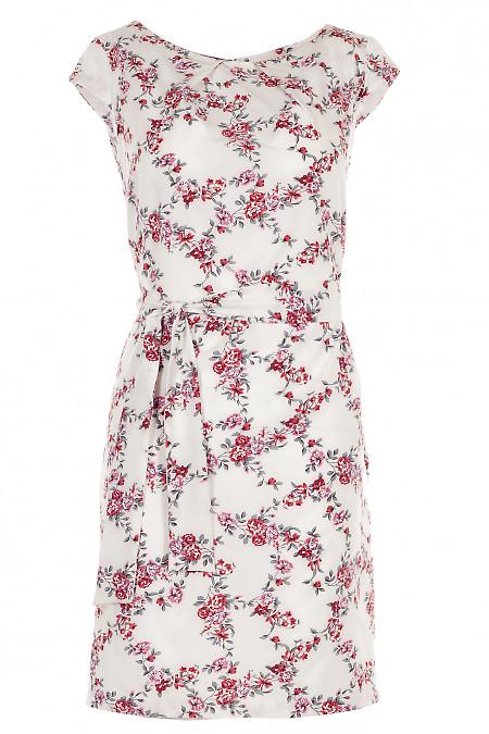Платье белое в красный цветочек Деловая женская одежда фото
