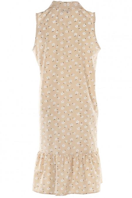 Бежевое платье из софта
