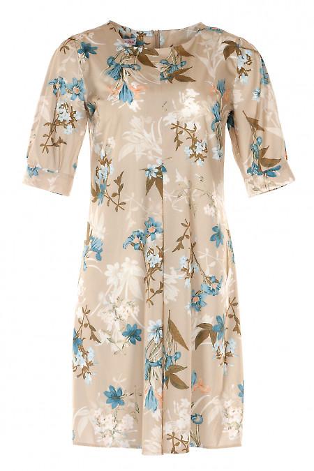 Платье бежевое со складкой встречной. Деловая Женская Одежда фото