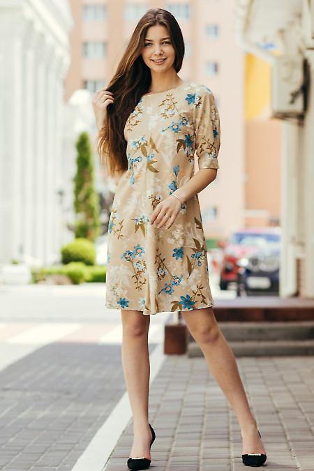 Платье бежевое короткое в цветы. Деловая женская одежда фото