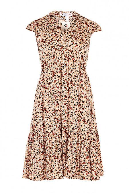 Сукня бежева в квіти з рюшем. Діловий жіночий одяг.