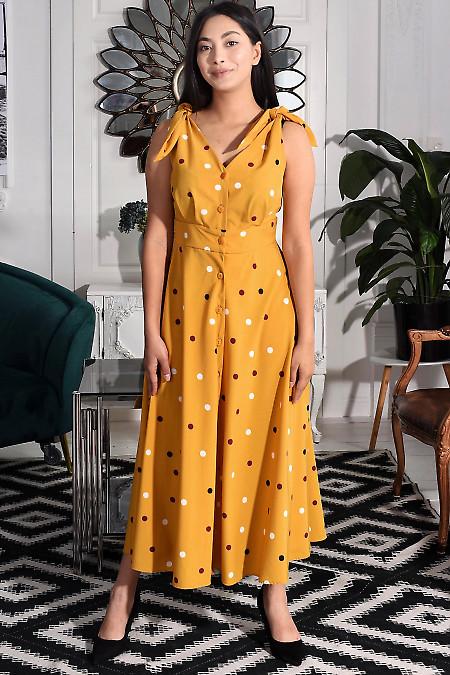 Сукня бежева в різнокольоровий горох. Діловий жіночий одяг