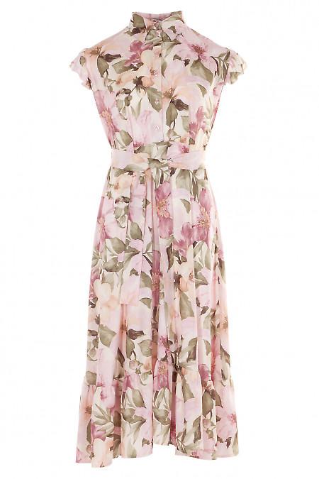 Платье бежевое в розовые цветы с воланом. Женская одежда фото