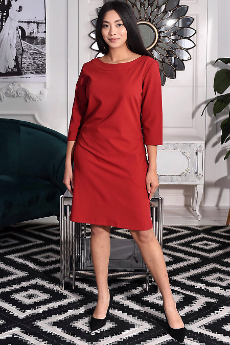 Сукня бордова з круглою горловиною. Діловий жіночий одяг