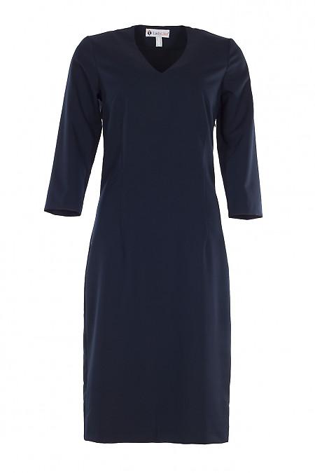 Сукня чохол темно-синього кольору. Діловий жіночий одяг