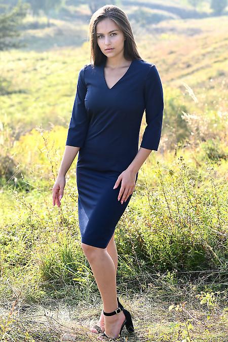 Купити синю сукню суворого крою. Діловий жіночий одяг