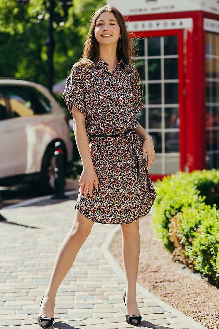 Купить черное платье в разноцветный цветок. Деловая женская одежда фото