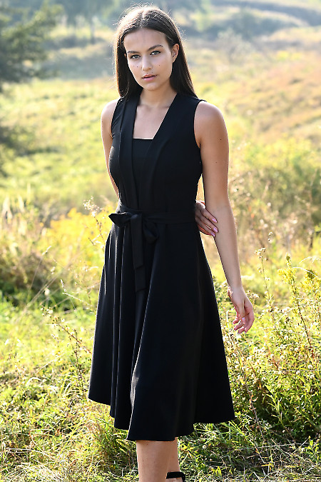 Купить черное платье без рукавов, с поясом. Діловий жіночий одяг