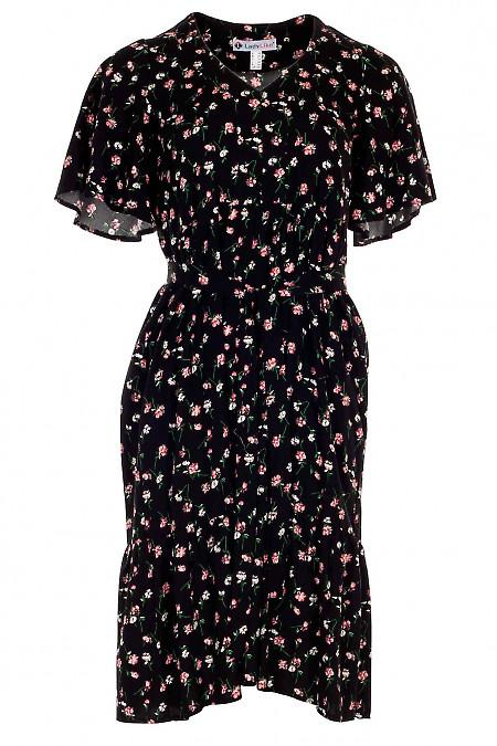 Платье черное в бело-малиновый цветочек. Деловая женская одежда фото